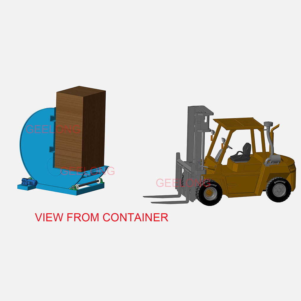 90° board overturning machine for container board unloading